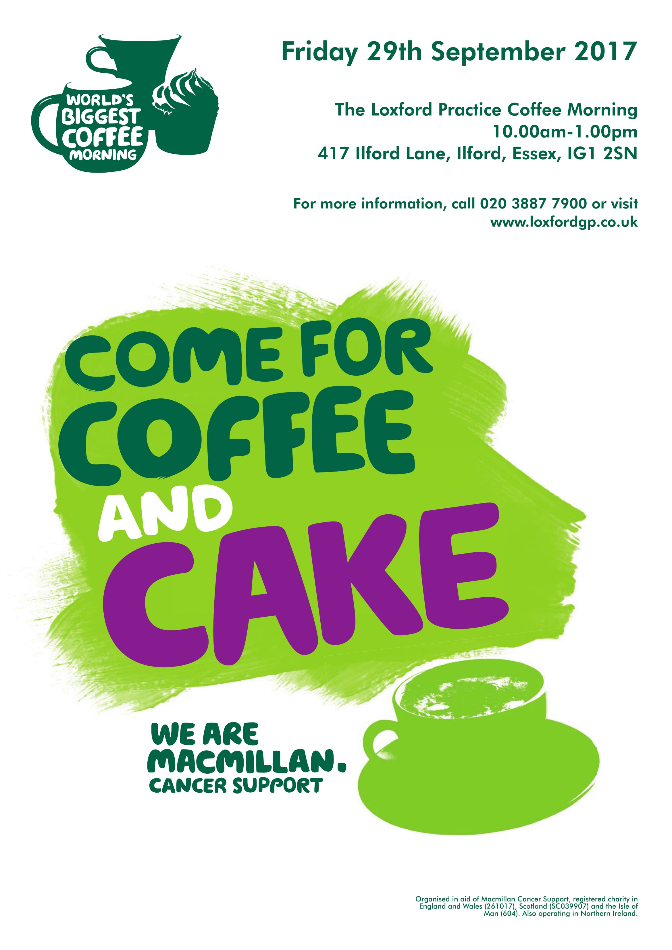 Macmillan Coffee Morning The Loxford Practice Friday